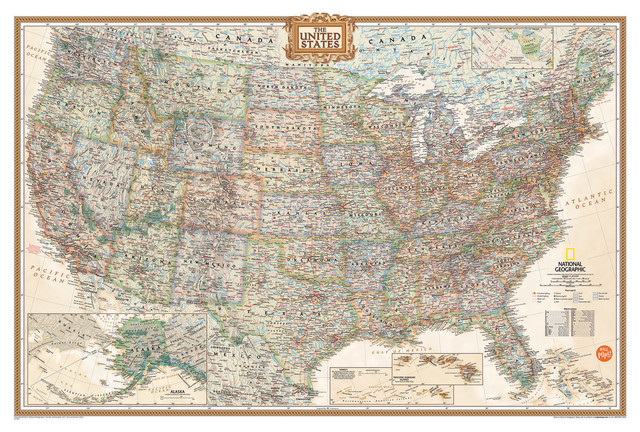 National Geographic USA Map Wall Decal Contemporary Wall - Us map wall decal