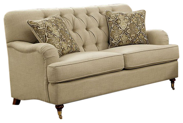 Laney Transitional Style Tufted Love Seat, Beige.