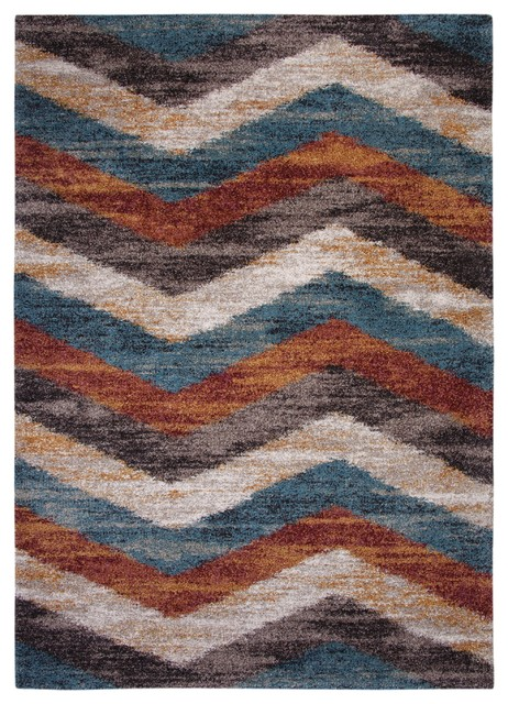 Chevron Area Rug Blue Brown Rust