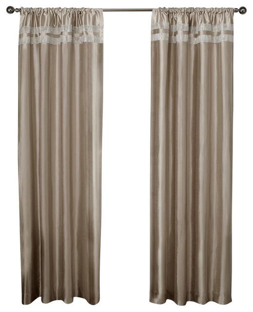 "Glitz Rod Pocket Window Curtain Panels, Taupe, Set Of 2, - 54"" X 96""."