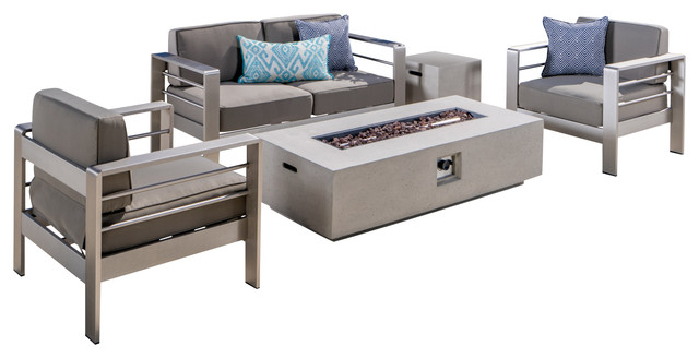 Coral Bay Outdoor Khaki Chat Set And Fire Table, 5 Piece Set, White.