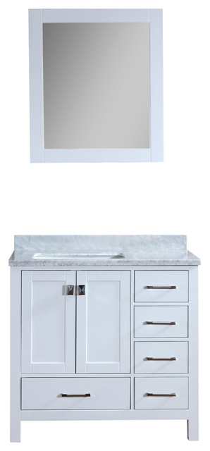 Mallory White Solid Wood Bathroom Vanity, With Mirror, Single Basin, 42.