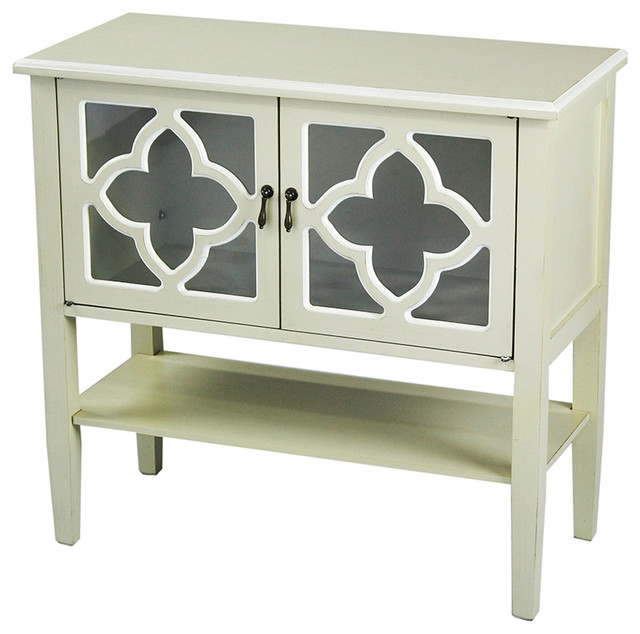 2-Door Console Cabinet, Glass And Bottom Shelf, Beige With White Trim.