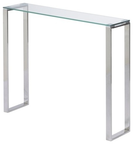 Plata Import Irina Narrow Glass Console Table 36 For A Modern