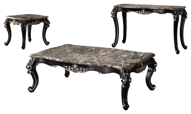 1615, Jane Austen Antique Black With Gold Trimming Tables  Traditional Coffee Table
