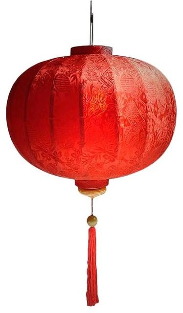 Vietnamese Ball Silk Lantern Asian Outdoor Hanging Lights By Oriental Decor