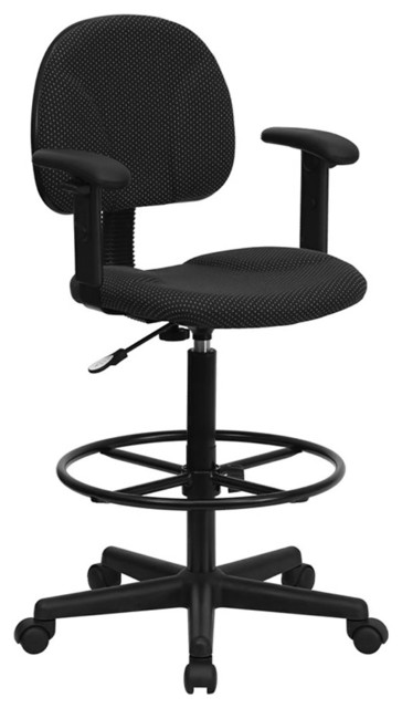 Terrific Offex Black Patterned Fabric Ergonomic Drafting Stool With Arms Gmtry Best Dining Table And Chair Ideas Images Gmtryco