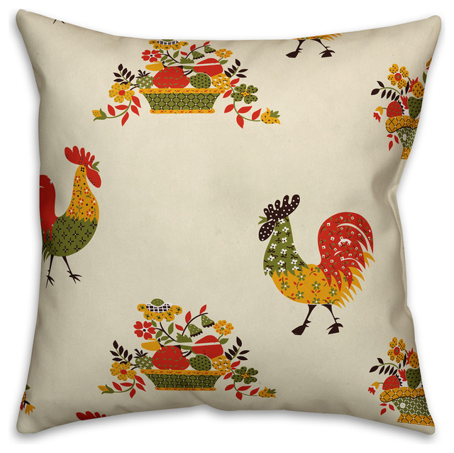 Rooster Pattern Pillow Farmhouse Decorative Pillows