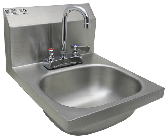 14 X16 Stainless Steel Wall Mount Hand Sink With Deck Faucet