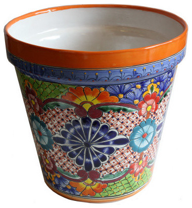 Medium Multicolor Talavera Ceramic Pot Mediterranean
