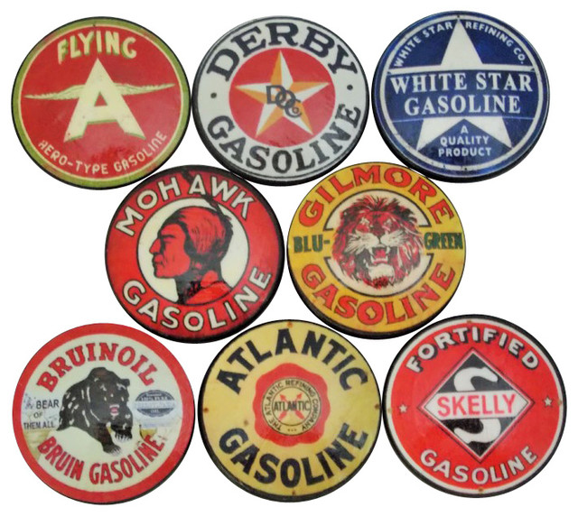 Oil and Gas Label Oversized Cabinet Knobs, 8-Piece Set, Set D