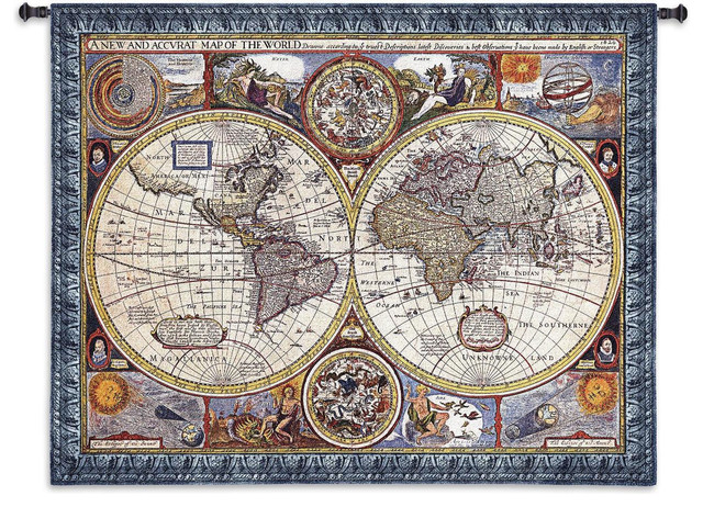 """A New and Accurate Map Tapestry - 53""""H x 67""""W"""