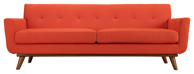 Engage Upholstered Fabric Sofa, Atomic Red