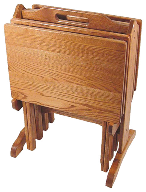 Amish Made Oak Folding Tv Tray Set With Storage Stand Traditional