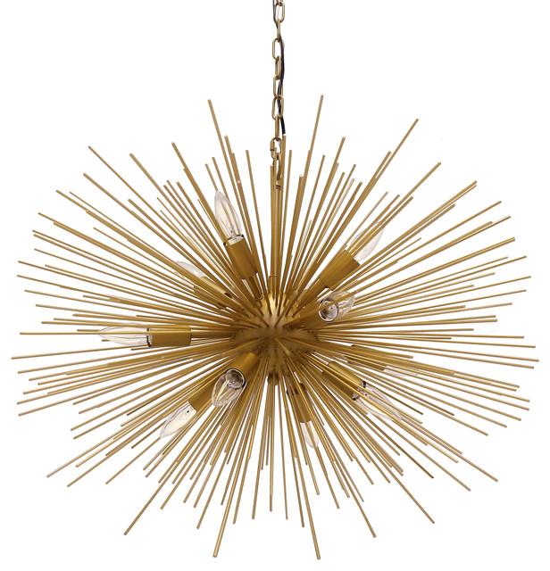 Emme Starburst 12 Light Brushed Gold Sputnik Chandelier
