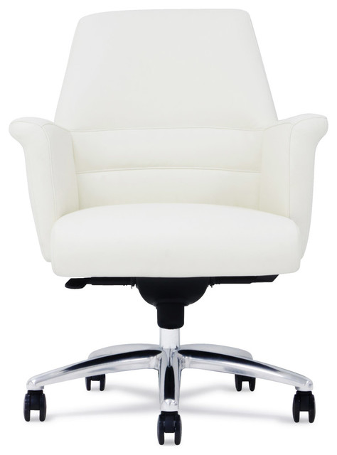 Geffen Genuine Leather Aluminum Base Chair Contemporary Office Chairs B
