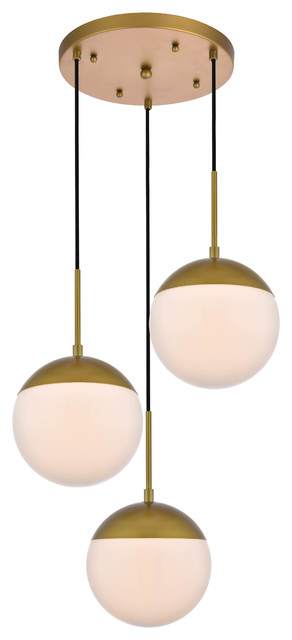 """18"""" Modern 3-Light Pendant With Frosted White Glass, Brass"""