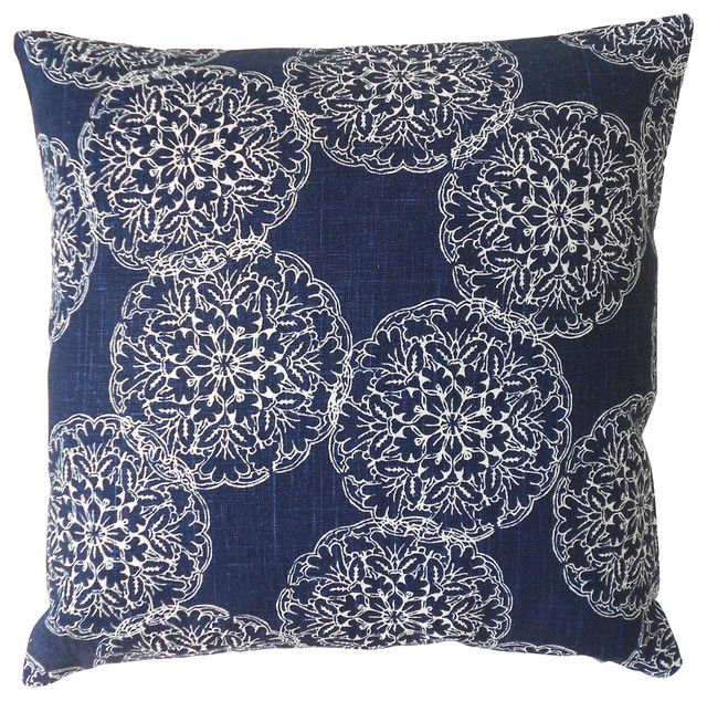Awesome Decorative Pillows With Fringe Part - 14: Ikat Medallion Pillow Cover, Navy Contemporary-decorative-pillows