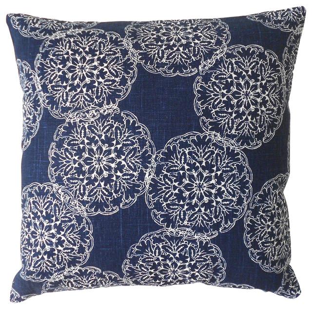 Ikat Medallion Pillow Cover, Navy.