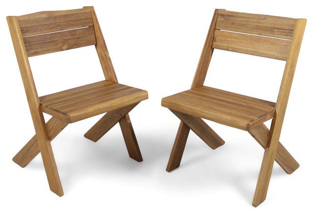 Pleasant Gdf Studio Irene Outdoor Acacia Wood Chairs Teak Set Of 2 Lamtechconsult Wood Chair Design Ideas Lamtechconsultcom