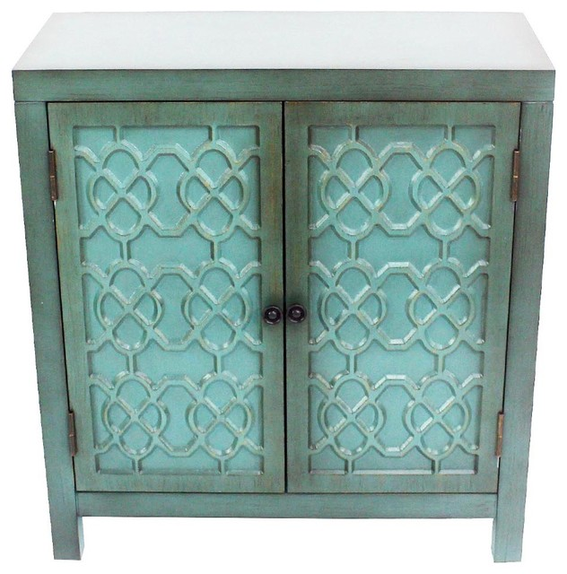 "28"" Antiqued Quatrefoil Teal 2 Door Cabinet With Shelf."