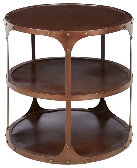 alfons industrial loft round 3 tier metal side table and