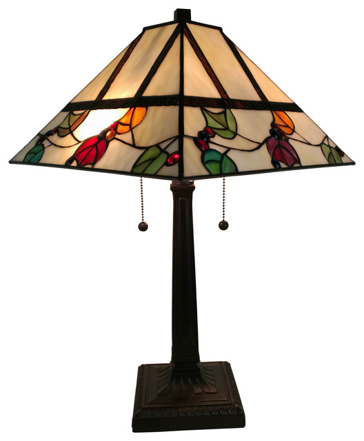 Amora Lighting Tiffany Style Berries/leaves Mission Table Lamp, 22.
