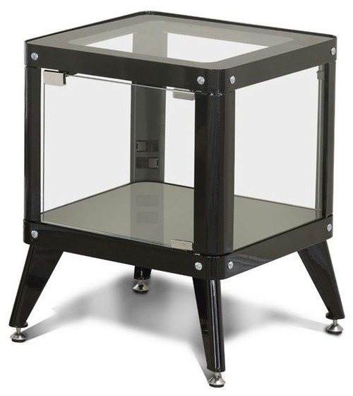 Furniture of America Elton Modern Metal Display Cabinet in Black