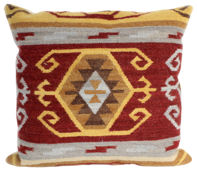 Southwestern Print Throw Pillows : Bashian Stanton Red Pillow - Southwestern - Decorative Pillows - by Bashian