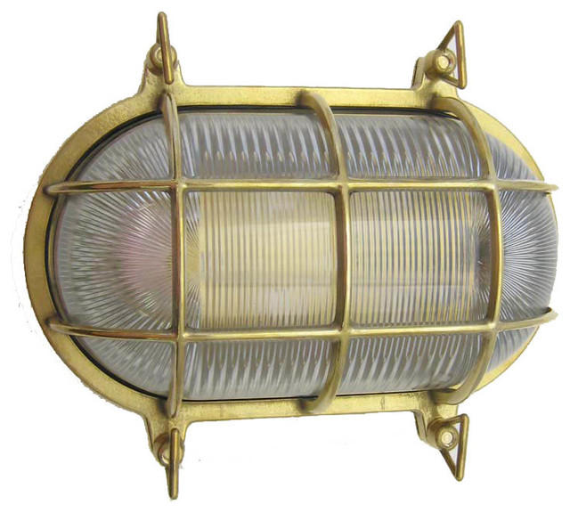 Merveilleux Nautical / Industrial Large Oval Cage Light (Indoor / Outdoor / Solid  Brass), Un