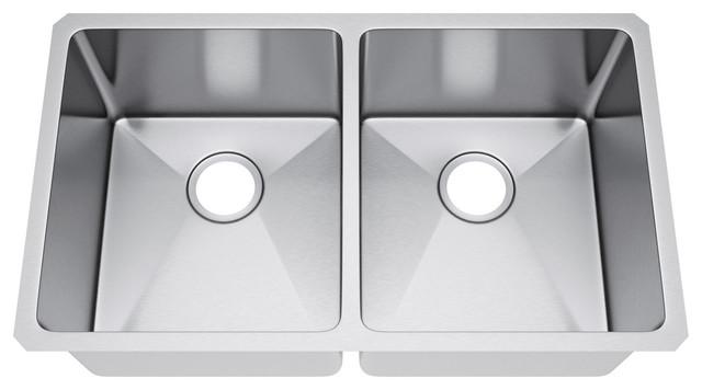 "31""x18"" Double Bowl 50/50 Undermount Kitchen Sink, Without Strainer"