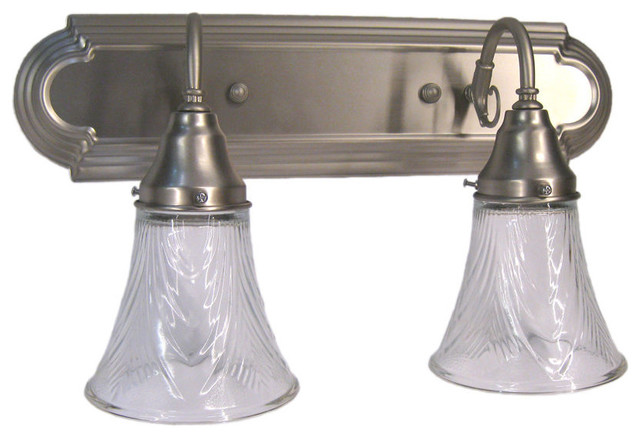 Brushed Nickel and Decorative Glass 2 Light Bath Wall - Traditional - Bathroom Vanity Lighting ...