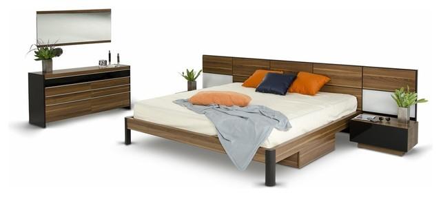 Modrest Rondo Modern Walnut Queen Bedroom Set.