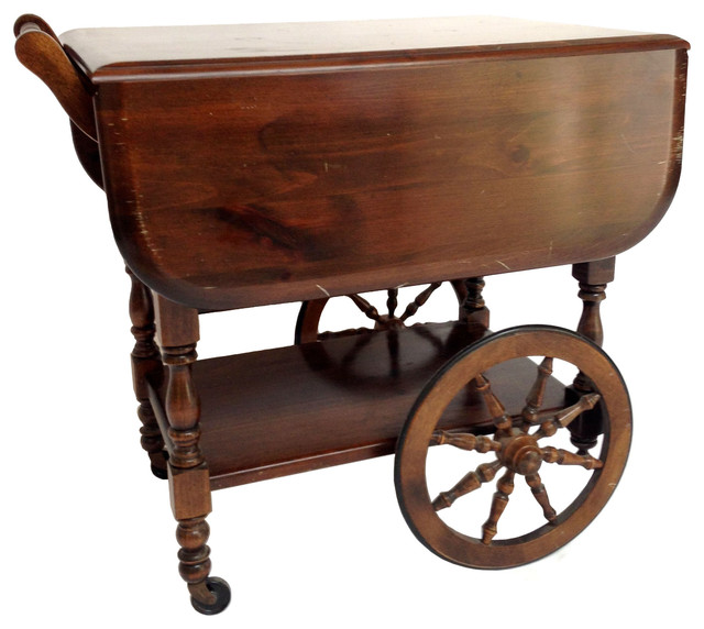Georgian Style Drop Leaf Tea Cart
