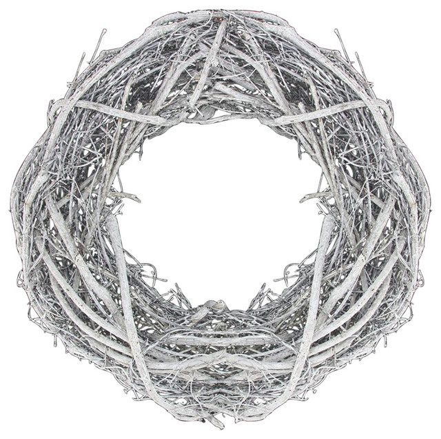 Country Rustic White Twig Artificial Christmas Wreath, Unlit, 13.5.
