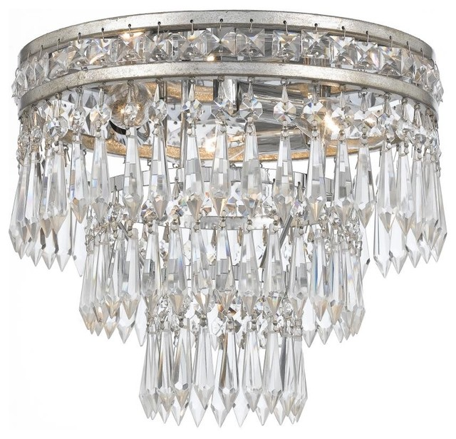 Mercer 3 Light Hand Cut Crystal Semi-Flush.