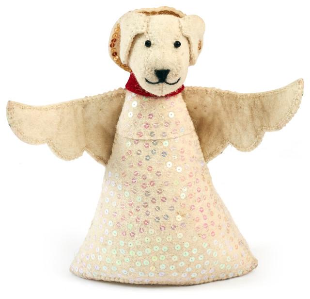 Handmade Felt Dog Angel Tree Topper in White