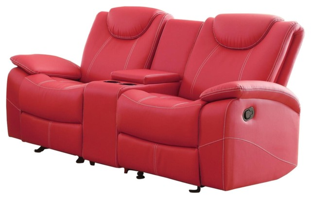 2-Piece Tagnon Set Double Recliner Sofa, Glider Love Seat Red Leather