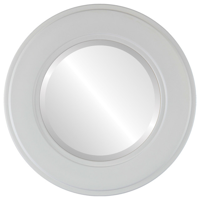 Montreal framed round mirror in linen white contemporary bathroom mirrors by the oval and - Bathroom mirrors montreal ...