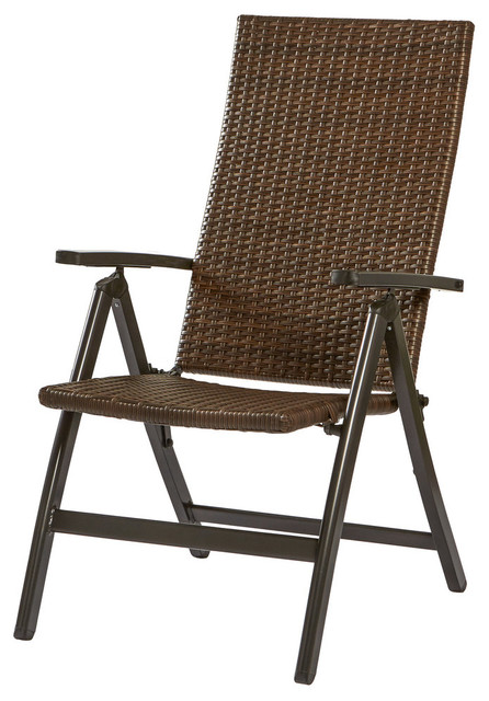Hand Woven Pe Wicker Outdoor Reclining Chair.