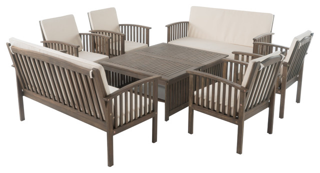 Beckley, 8 -Piece, Gray Finish Acacia Chat 8-Piece Set.