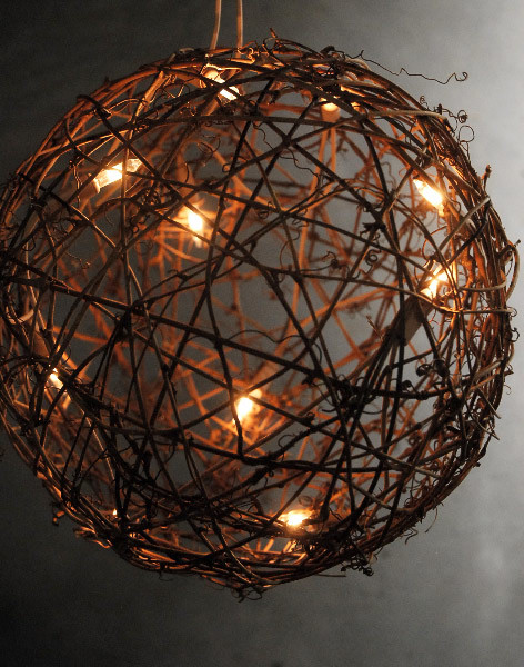 Grapevine Ball With String Lights