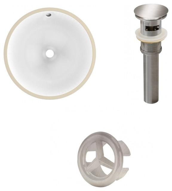 Csa Round Undermount Sink Set White Brushed Nickel