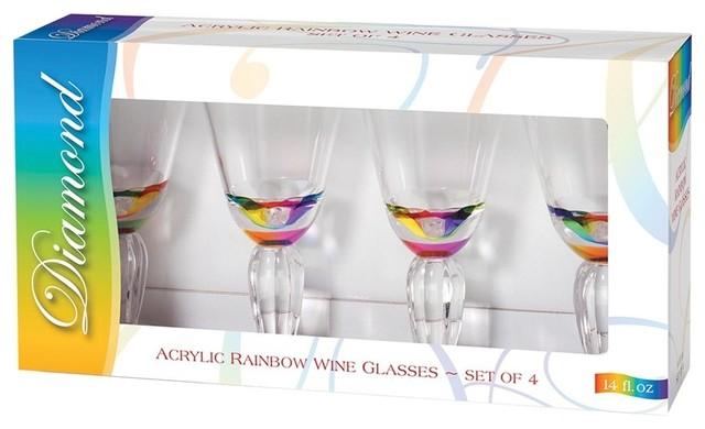 Merritt Rainbow Diamond Acrylic Glassware Tumblers U0026 Wine Glass Gift Sets  ...