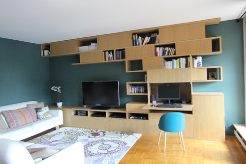 biblioth que avec bureau int gr. Black Bedroom Furniture Sets. Home Design Ideas