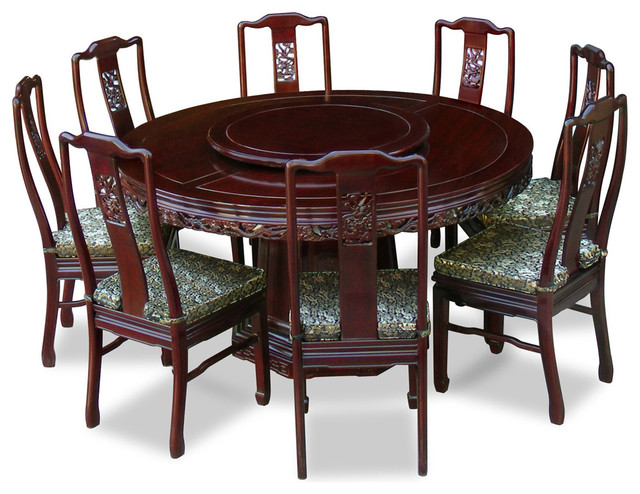 "60"" Rosewood Dragon Round Dining Table With 8 Chairs"