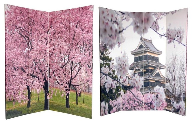 6 Tall Double Sided Cherry Blossoms Room Divider Asian Screens