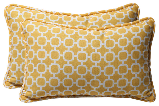 Hockley Rectangle Throw Pillow, Set of 2, Yellow