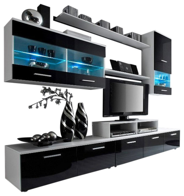 Modern Entertainment Center Wall Unit With Led 50 Tv Stand Black And White