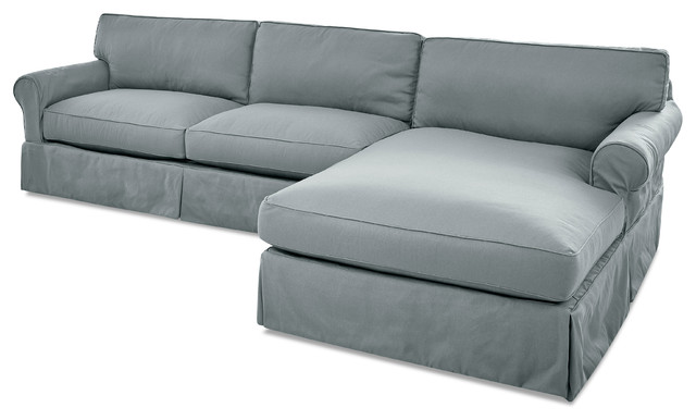 Avenue 405 Olivia Down Blend Sofa Chaise Sectional, Spa Blue